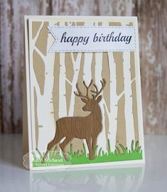 Woodland birthday card with birch cutting plate: Cards by Kerri: Taylored Expressions Inlaid Die Cutting