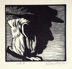 L. Roy Davies [Portrait of the artist's father] 1923 wood-engraving