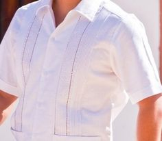 Mens Embroidered Linen italia  Guayabera. Slim Fitting - Guayabera short sleeve Shirt with embroidery,  tucks and two pockets on the front. Dry clean for best results.  Availability is subject to change.  Wedding Guayabera Short Sleeve.