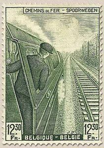Belgium postage stamp from 1942 featuring a railway engine driver
