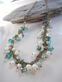 turquoise/pearl necklace