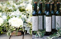 bouquets with olive branches   olive table numbers photo by Punam Bean Photography via Style Me ...
