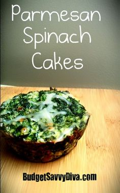 Parmesan Spinach Cakes - This recipe looks easy and delicious and healthy!  ***Always make sure to use gluten-free cheese***