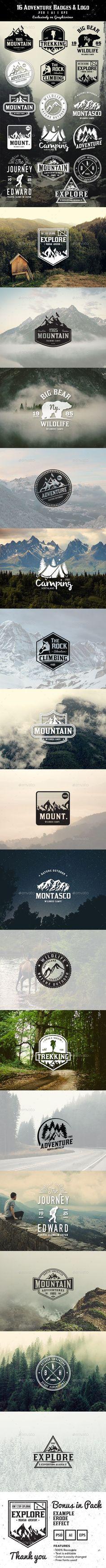 16 Adventure Badges & Logo Template #design Download: http://graphicriver.net/item/16-adventure-badges-logo/11973456?ref=ksioks