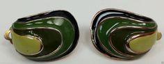 Green and black enamel gold tone clip on earrings #DropDangle