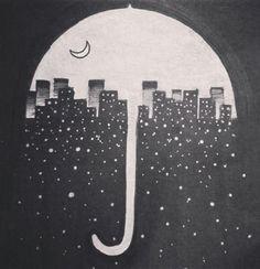 City at night umbrella