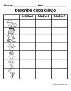 Los adjetivos (Adjectives in Spanish) Great activity idea, but would use color and more detail to fit adjectives taught. Spanish Worksheets, Spanish Teaching Resources, Spanish Activities, Spanish Language Learning, Spanish Games, Learning Activities, Bilingual Classroom, Bilingual Education, Classroom Language