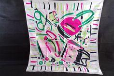 foulard vintage Ted lapidus Paris, motif sac a main, ceinture, bijoux, lunettes, made in France, vintage France, mode paris, vintagefr, de la boutique decobrock sur Etsy