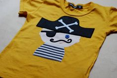 Craft project for kids with iron on shapes  Pepe the pirate SHIRT