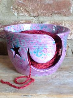 Stars and Moon yarn bowl by Earth Wool and Fire.  Email earthwoolfire@ymail.com for details