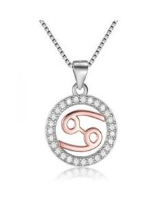 Silver 925 Cancer Horoscope Pendant Necklace with CZ