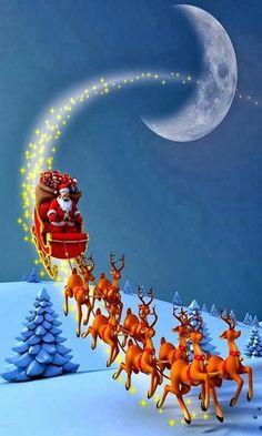 Christmas Yard Art, Christmas Scenes, Christmas Mood, Vintage Christmas, Merry Christmas Wallpaper, Merry Christmas Pictures, Holiday Wallpaper, Christmas Paintings, Iphone Wallpaper