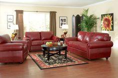 Burgundy red leather sofa set.   Burgundy   Pinterest   Leather sofa ...