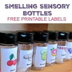 Smelling Sensory Bottles Free Printable Labels Smelling Sensory Bottles for All About Me preschool theme or sensory exploration. Perfect for a preschool science center as well. Five Senses Preschool, Science Center Preschool, 5 Senses Activities, Science Area, My Five Senses, Science For Toddlers, Kindergarten Science, Preschool Lessons, Preschool Classroom