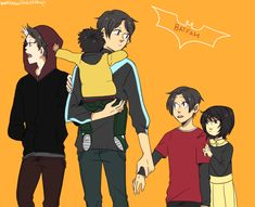 The Batfam kids. Dick is such a good big brother, he's got his hands full!