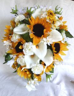 Cascading 10 piece Sunflower wedding by ChurchMouseCreations