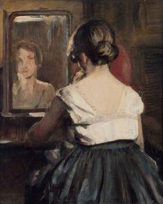 Girl at the Mirror by David Muirhead, 1928, Royal Academy of Arts