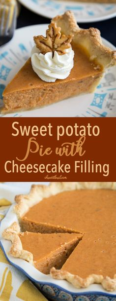 Sweet Potato Pie with Cheesecake Filling is the creamiest you will ever taste. It's a cross between an traditional sweet potato pie and a sweet potato cheesecake. It's guaranteed to be a hit at all your family get togethers this holiday season. Vegan Sweet Potato Pie, Sweet Potato Cheesecake, Sweet Potato Dessert, Sweet Potato Casserole, Sweet Potato Recipes, Cheesecake Pie, Sweet Potato Pie Filling, Sweet Potato Cupcakes, Köstliche Desserts