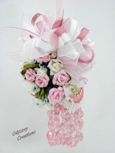 Pink and White Roses Victorian Christmas Ornament by Odyssey Creations