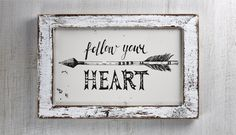 This 5x7 'Follow Your Heart' wall art would make a great addition to any room in your home. by picksngiggles on Etsy