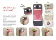 Business cards as hand puppets? Based on Brandflakes for Breadfast Invitation idea. Paper Puppets, Hand Puppets, Create Invitations, Party Invitations, Planet For Kids, Creative Design Agency, Talking Back, Idee Diy, Direct Marketing