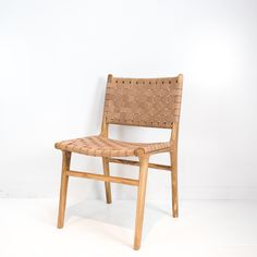 Leather Weave Dining Chair (Tan)