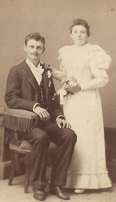 CABINET PHOTO HANDSOME YOUNG VICTORIAN GENTLEMAN WITH LOVELY WIFE DAYTON OHIO