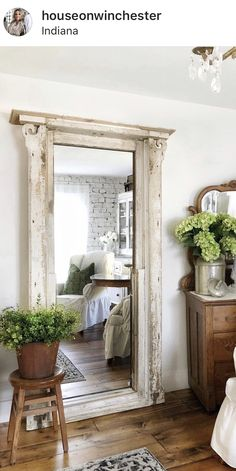 these ladies are super duper talented country farmhouse decor Muebles Shabby Chic, Leaning Mirror, Church Windows, Country Farmhouse Decor, Farmhouse Lighting, Industrial Farmhouse, Farmhouse Style, Home And Deco, Cottage Style