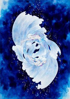mayu nanao: 画像 Mermaid Artwork, Mermaid Drawings, Disney Drawings, Jack Frost Anime, Watercolor Negative Painting, Mermaid Stories, Pretty Drawings, Mermaids And Mermen, Cool Anime Girl
