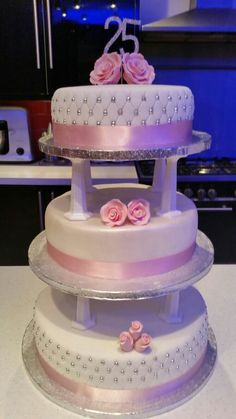 25 Wedding Ann 3 tier cake. Victoria Sponge with buttercream & jam.