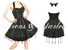 HEARTS & ROSES LONDON BLACK LACE GOTHIC STEAMPUNK EMO PARTY PROM DRESS Preview