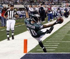 Desean Jacks celebrates a 91-yard touchdown by falling backwards into the Cowboys' endzone during the 2010-2011 NFL season. #Eagles #Cowboys #NFL