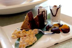 Traditional rum cake, peanut brittle, chocolate covered fruit and fudgy banana pudding shooters... a welcome gift at Viceroy Anguilla