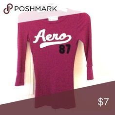 Purple 3/4 sleeve aero top Thermal material- ribbed- very comfortable small but fits like an xs Aeropostale Tops Blouses