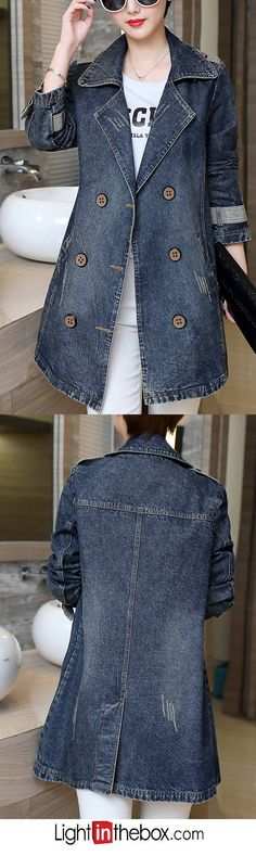 Women's Going out / Casual/Daily / Plus Size Simple Fall Denim Jackets