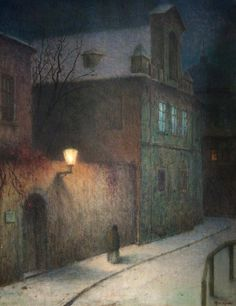 A Street in Winter (1905-1910) by Jakub Schikaneder
