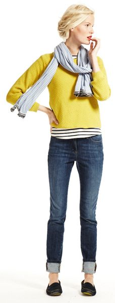 Yellow Boden jumper - brilliant with black and white stripes