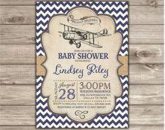 Old Vintage Airplane Baby Shower Invitation PrintableDigital File