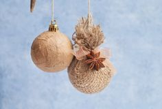 christmas paper mache | paper mache and burlap Christmas ornaments | Christmas/New Year's
