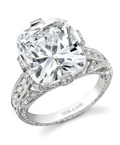 A platinum-set 15 carat white diamond ring by Neil Lane, 1.5M.  In my dreams. Pretty. Must have wrist insured so when the ring breaks it. Lol