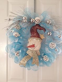 Snowman Wreath tutorial for Christmas or January. by erica
