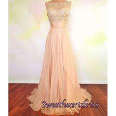 Elegant light orange chiffon modest prom dress with beautiful top details, long formal dress for teens #coniefox