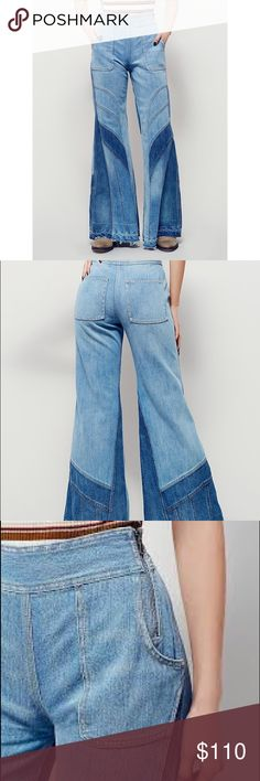 Free People NWOT Denim Bell Bottom Jeans Disclaimer: the stock photo used is NOT the same pair of jeans. I've provided actual pictures after the stock images. Thank you!                                                                    👖👖Free People bell bottom denim jeans. Multiple denim shades and tones. No back pockets. Has two small front pockets. Free People Jeans Flare & Wide Leg
