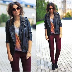 Maroon pants and leather jacket