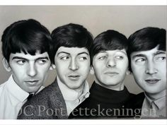"""The Beatles"" realistic portrait drawing made with pastelpencils and pastelchalc"