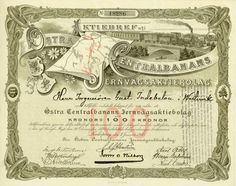 Östra Centralbanans Jernvägsaktiebolag, Linköping, 2 January 1900, Share of 100 Crowns, #18286, 22.5 x 28.2 cm, brown, grey, DB, folds, rest of coupons, superb, vignette with train crossing a bridge.