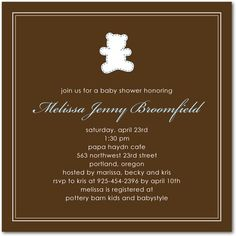 Tiny Teddy: Blue - Baby Shower Invitations in TP Chocolate | Fine Moments