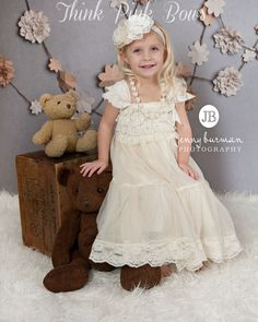 4 Pcs flower girl dress petti lace dressbaptims by ThinkPinkBows, $59.95