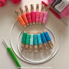 Materialkit till mina färgglada lanternor. BautaWitch.com. Aqua, Coral, Catania, Raspberry, Lime, Ribbon, Crochet, Inspiration, Threading