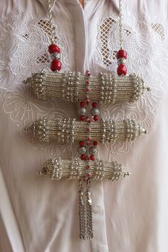 Traditional Yemenite prayer boxes necklace made of silver glass beads and coral